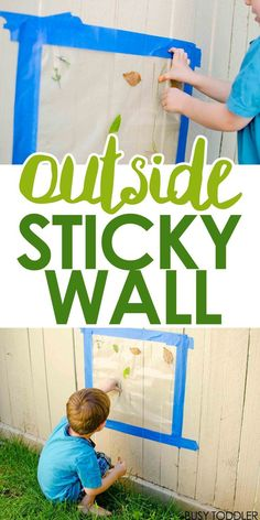 Outside Sticky Wall: Create a fun outdoor activity that toddlers and preschoolers will love. This easy outside activity is perfect for exploring nature. fun activities Outside Sticky Wall - Busy Toddler Outdoor Activities For Toddlers, Nature Activities, Infant Activities, Toddler Outdoor Games, Childcare Activities, Outdoor Fun For Kids, Indoor Activities, Garden Ideas For Toddlers, Preschool Outdoor Games