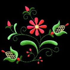 polish28 - Polish Folk Art Machine Embroidery Design. Wow this really pops on the dark fabric.
