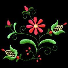 polish28 - Polish Folk Art Machine Embroidery Design. Wow this really pops on the dark fabric.