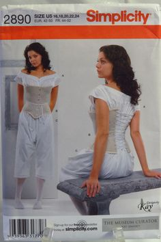 Simplicity 2890 Misses' Drawers, Chemise and Corset