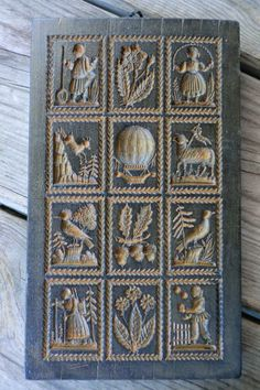 Antique awesome wax Springerle mold 12 motifs Germany