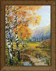 The Birches is a beautiful cross-stitched picture with the feel of autumn in the air.  The tall birches with their pale bark and yellowing leaves stand erect in a meadow by a peaceful brook.  The quaint bridge beckons you to cross over and inhale the wonderful aroma of the crisp leaves.  All supplies needed for this project are included in the kit.