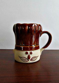 Chef Hat Mug  Vintage Brown Drip Stoneware by LizzieJoeDesigns, $10.00
