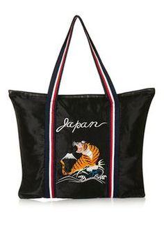 Oversized Embroidered Shopper Bag