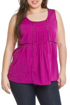 Dex Lace Insert Pleated Cami in Magenta Purple - Beyond the Rack