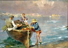 Giovanni Panza (Miseno, NA 1894 - Napoli 1989) Marina con pescatori olio su tela rip. su cartone cm 45x62