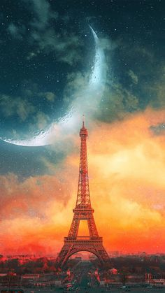 Eiffel Tower and Moon iPhone Wallpaper - iPhone Wallpapers Paris Wallpaper Iphone, City Wallpaper, Cute Wallpaper Backgrounds, Nature Wallpaper, France Wallpaper, Wallpaper Maker, Wallpaper Wallpapers, Black Wallpaper, Eiffel Tower Painting