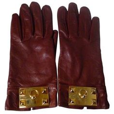 Preowned Hermes Collier De Chien Cognac Gloves (€405) ❤ liked on Polyvore featuring accessories, gloves, black, hermes gloves, lambskin gloves, studded gloves and hermès