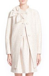 kate spade new york 'dorothy' sequin tweed bow neck coat