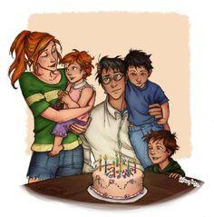 by the fantasic Burdge. Gina Harry Potter, Harry Potter Couples, Harry Potter Castle, La Saga Harry Potter, Harry And Ginny, Harry Potter Puns, Harry Potter Artwork, Harry Potter Ships, Harry Potter Images