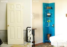 From boring bedroom door, to wall decor to brighten up the space. What a fun weekend craft idea.