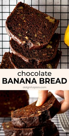 This Chocolate Walnut Banana Bread is so delicious, moist and tender with a chocolatey and nutty flavor and wonderful aroma. It is quick and easy to bake and no fancy tools are needed. Great for any time in the day, as breakfast, dessert or mid-day snack. Also great for parties. #bananabread Best Bread Recipe, Banana Bread Recipes, Coffee Recipes, Diet Recipes, Dessert Recipes, Cake Recipes, Vegetarian Recipes, Vegetarian Sweets, Potluck Recipes
