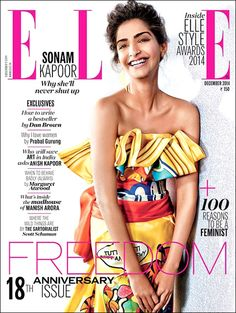 #Sonam #Kapoor in a vibrant #Moschino gown on the cover of #Elle, #Bollywood Hungama