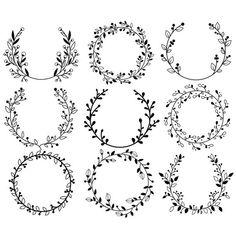Blumenkranz - Clipart & Vektor-Set - sofortiger Do Diy Tattoo, Wreath Tattoo, Tattoo Ideas, Ideas Scrapbook, Scrapbook Designs, Kranz Tattoo, Embroidery Patterns, Hand Embroidery, Japanese Embroidery