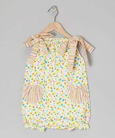 Take a look at this Pink Polka Dot Stripe Bubble Romper - Infant & Toddler by Little Langs on #zulily today!