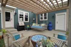 over the door, swing, potted fire pit, potted fountain Utah Parade Of Homes, Garden Yard Ideas, Patio Ideas, Backyard Ideas, Outdoor Living, Outdoor Decor, Outdoor Ideas, Outdoor Spaces, Patio Design