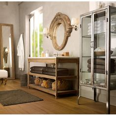 RH's Weathered Oak Single Extra-Wide Washstand Base:Rustic yet refined, our solid oak washstand features open shelving that offers streamlined storage in the bath. Weathered Oak, Home, Restoration Hardware, French Country Cottage, Beautiful Bathrooms, House, Cool Furniture, Industrial Chic, Large Baths