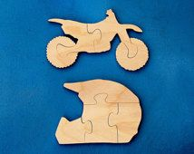 Kids Wooden Puzzles - Set of 2 Wood Motorcycle and Helmet Jigsaw Puzzles - Makes a Great Gift for Children and Toddlers