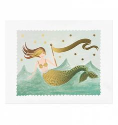 things i think i could manage painting/ printing onto lamp shades: Vintage Mermaid Illustrated Art Print