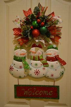 glittered snowman welcome door hanger - Whimsical Christmas Tree Toppers