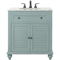 Hamilton Shutter 31 in. Vanity in Sea Glass with Granite Vanity Top in Grey with White Basin