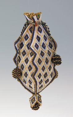 Reticule: ca. 1818-1830, Mexican, glass, silk.