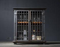 "Liquor Cabinet, Bar Cart, Industrial - ""Caged"""