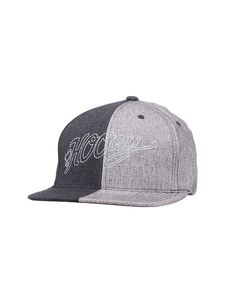 HOOey Grey and Charcoal Two Tone with White Script Logo Snap Back Cap  b48716d6ea70