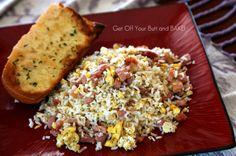 Ham, Eggs, Rice.  yum.