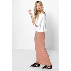 Boohoo Helena Basic Jersey Maxi Skirt ($14) ❤ liked on Polyvore featuring skirts, camel, long white maxi skirt, white a line skirt, white jersey, rayon maxi skirt and bohemian maxi skirt