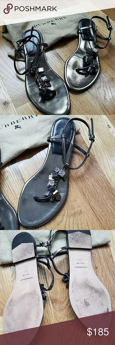 Leather Burberry Sandals Bronze/Pewter metallic Burberry sandals, with Burberry plaid decorative boxes across the foot.  W/ duster bag for storage. Make an offer today. Burberry Shoes Sandals