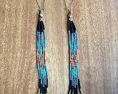 Long Beaded Fringe, Seed Bead Earrings, Should Dusters, Native American Inspired, Boho Style, Free People, Hippie Style