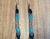 Long Beaded Fringe, Seed Bead Earrings, Should Dusters, Native American Inspired, Boho Style, Free People, Hippie Style