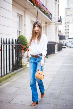 doina ciobanu jane birkin fringe hairstyle casual 70s denim outfit london-3