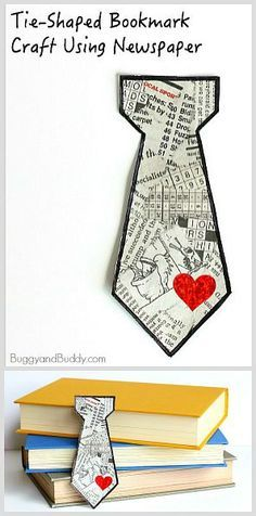 Homemade Father's Day Gift for Kids: Tie Shaped Tear Art Bookmark Craft Using Newspaper! Easy DIY gift for children to make dad! ~ BuggyandBuddy.com