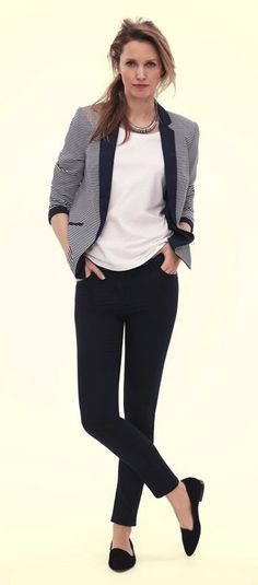 Love this whole look by Marks & Spencer. Striped jacket, white t-shirt, navy…