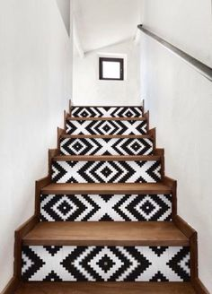 wallpaper on stairs risers - wallpaper on stairs . wallpaper on stairs wall . wallpaper on stairs risers . wallpaper on stairs staircases Of Wallpaper, Wallpaper Stairs, Aztec Wallpaper, Tropical Wallpaper, Deco Design, Interior Design Inspiration, Creative Inspiration, Stairways, My Dream Home