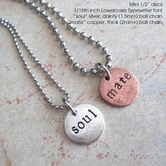 SOUL MATE necklace set.. Couples, Boyfriend Girlfriend, Wedding, Engagement .. Customize Tag, Personalize, Monogram, Initials, Monogram on Etsy, $16.00