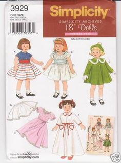 Simplicity Sewing Pattern 3929 Vintage 18  Doll Clothes Dress Coat Hat