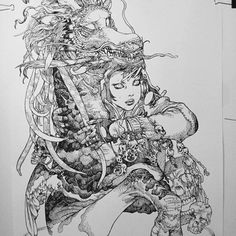 'Illustration from Black Marker 2 Exhibition' - @katsuyaterada. I remember seeing Terada's art when I was coming into the manga art world and having my mind blown by his painterly version of manga. But what I love most is his ink work and the way he puts so much detail into his art. This piece is bizarre even creepy but beautiful. Theres always juxtapozitions that draw me to it. Theres multi level emotions in his work that really speak to me. I always feel raw yet powerful at the same time…