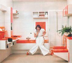 1970s bathroom interior.