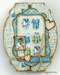 Layers of ink - Fold-a-Long Interactive Card by Anna-Karin. Made with Sizzix dies and Graphic 45 papers.