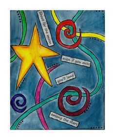 Shoot for the moon 8x10 star painting by osbornemixedmedia on Etsy, $35.00
