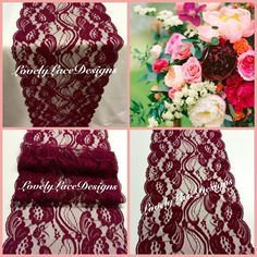 A personal favorite from my Etsy shop https://www.etsy.com/listing/251479472/burgundy-lace-table-runner12ft-20ft-long