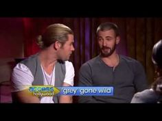 OMFG - Chris Evans and Chris Hemsworth discussing 50 Shades of Grey.  Please don't let Mr. Evans audition for the role of Christian Grey, lest I spontaneously combust!