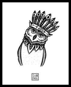 Indian Owl by Alphabets & Animals // Commission piece, 2014 // We are sooooo excited to be collaborating with Sammy on our first collection ever. Can't wait to show you all the final prints!