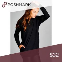 Black Sweater with Pockets Semi loose fit, round neck, long sleeve tunic top. Sleeve band and waist band. Has side seam pockets. This fabric is very soft and stretches well Sweaters Crew & Scoop Necks