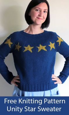 Free Knitting Pattern for Unity Star Sweater - Long-sleeved pullover with colorwork stars around the yoke and sleeves. Sizes To fit Chest: 31 (34, 37, 40) [43, 46, 49] in. Designed by Dani Sunshine. Worsted weight yarn. Knit Sweaters, Long Sweaters, Knitting Patterns Free, Free Knitting, Unity, Sunshine, Pullover, Stars, Sleeves