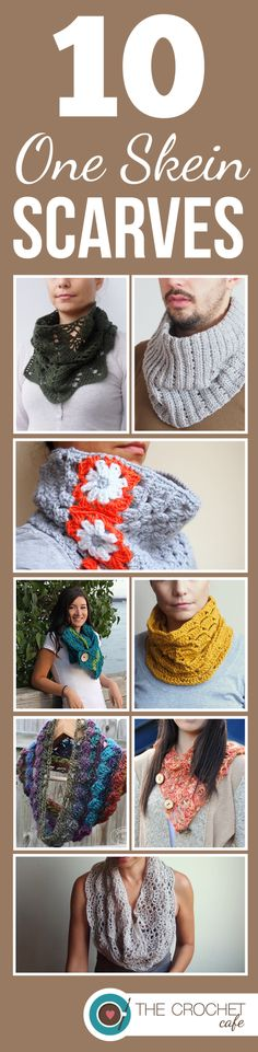 10 One Skein Crochet Scarf Patterns - I love a quick project!