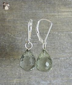 Prasiolite Green Amethyst Briolette Sterling Silver Leverback Earrings - Bridesmaid gifts (*Amazon Partner-Link)